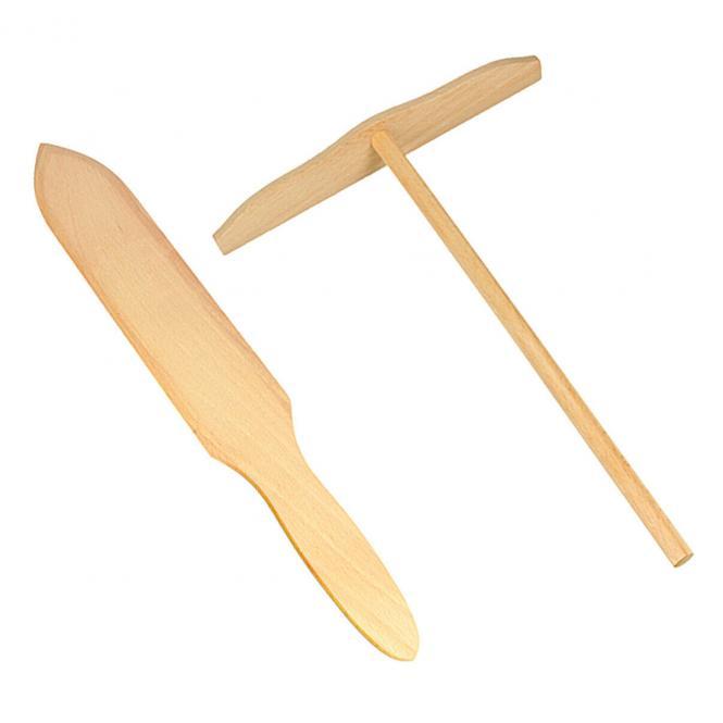 Crepes-Spachtel Set Holz Natur